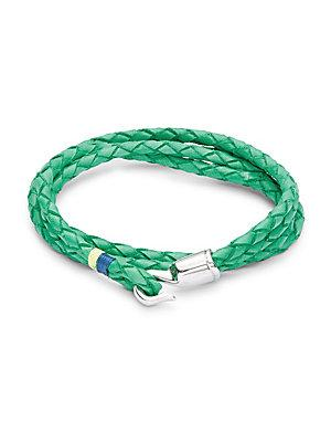 Miansai Trice Sterling Silver And Leather Wrap Bracelet In Green