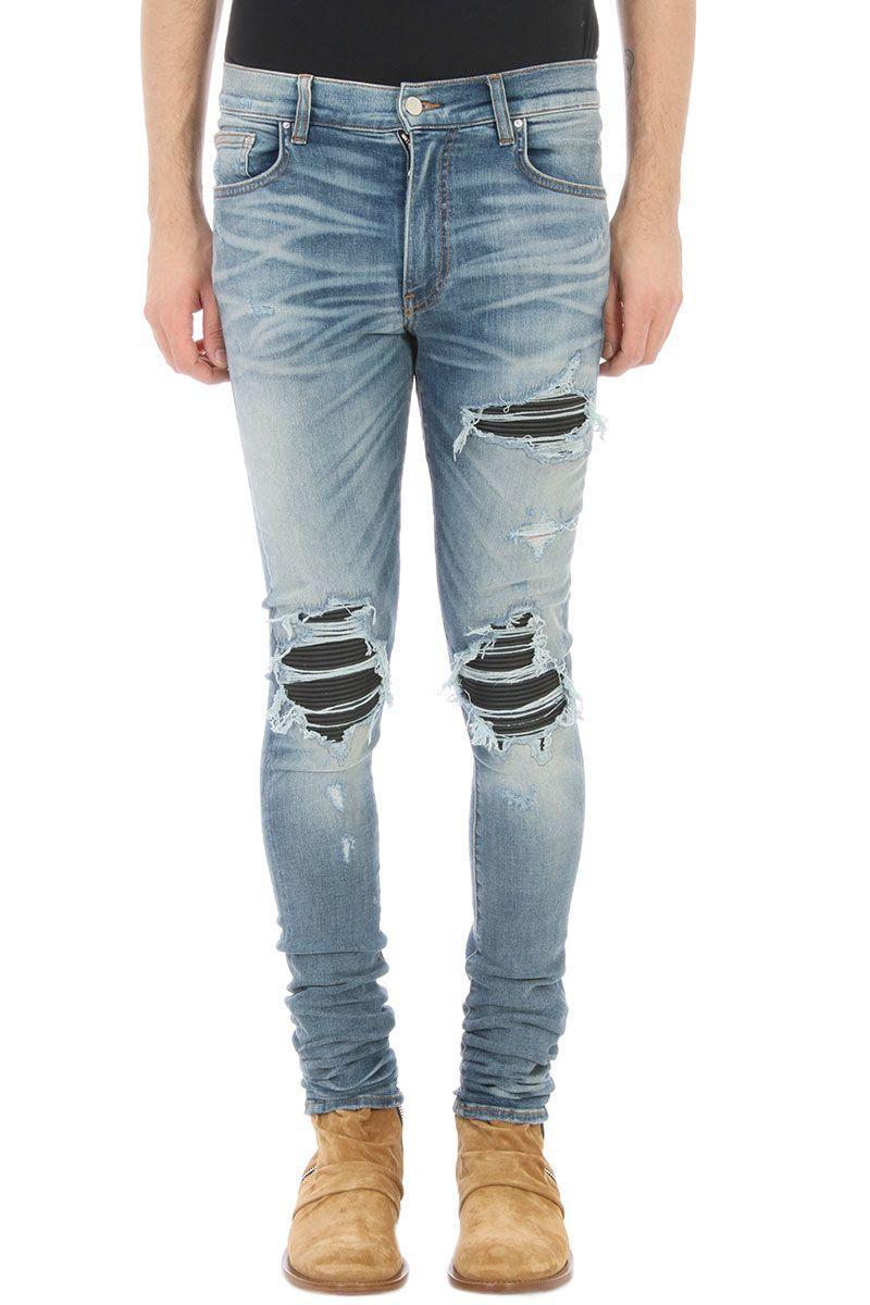 Amiri Leather Patch Biker Blue Denim Jeans In Cyan