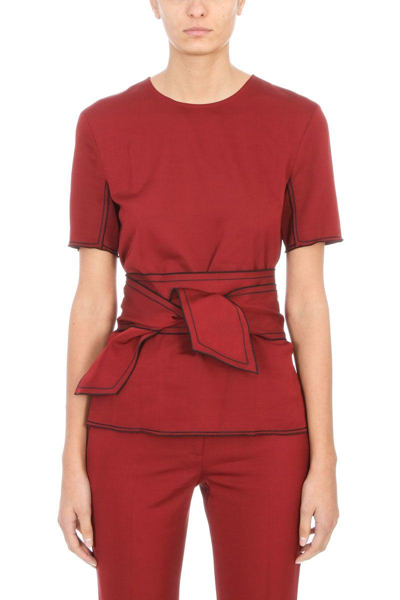 Victoria Beckham Red Merlot Wool Belted Blouse In Bordeaux