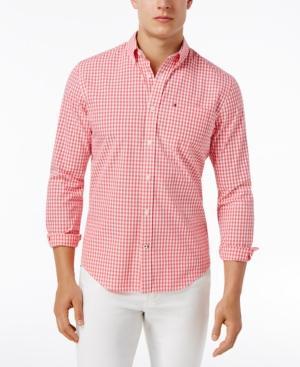 Tommy Hilfiger Men's Long-sleeve Twain Check Classic Fit Shirt In Geranium