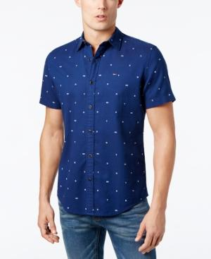 Tommy Hilfiger Men's Classic-fit Printed Shirt In Blue