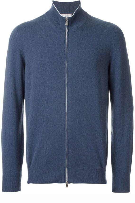 Brunello Cucinelli Full Zip Cardigan In Blue