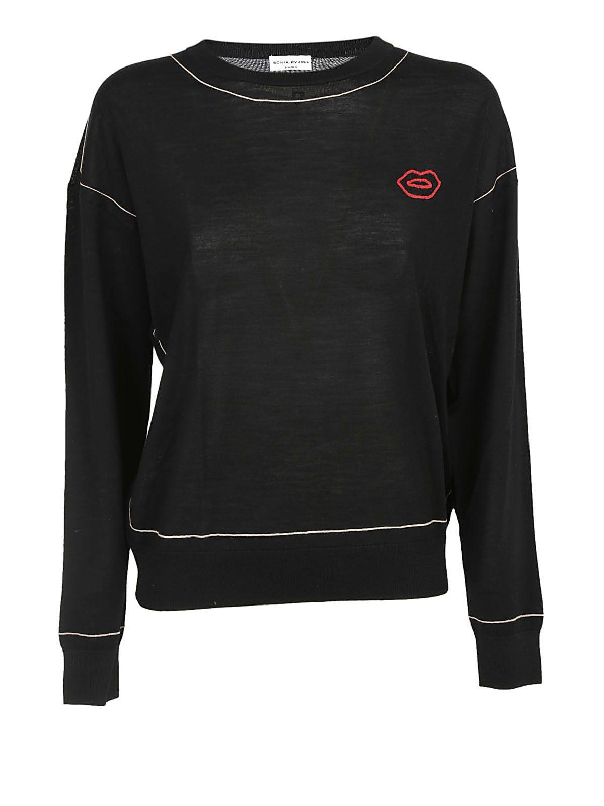 Sonia Rykiel Lips Logo Pullover In Black