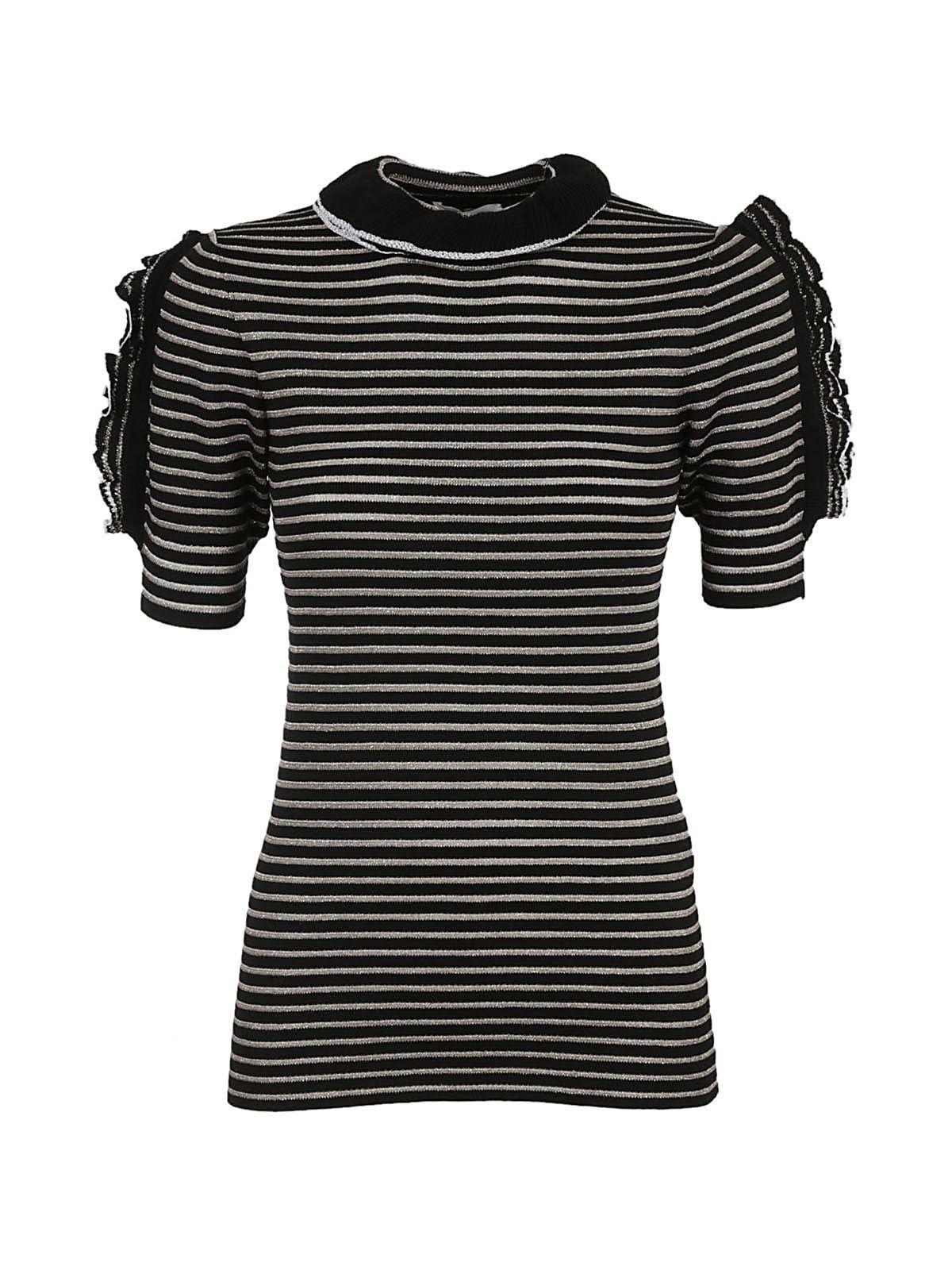 Sonia Rykiel Ruffle Stripped Pullover In Nero-oro