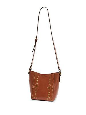 Frye Harness Stud Leather Crossbody Bag In Rust