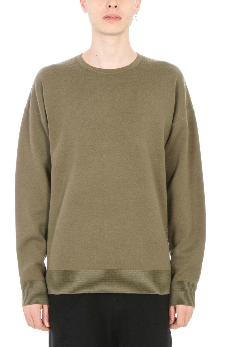 Helmut Lang Otton Crewneck Green Cotton Sweatshirt