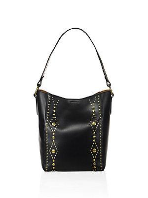 Frye Harness Studded Leather Hobo Bag In Black