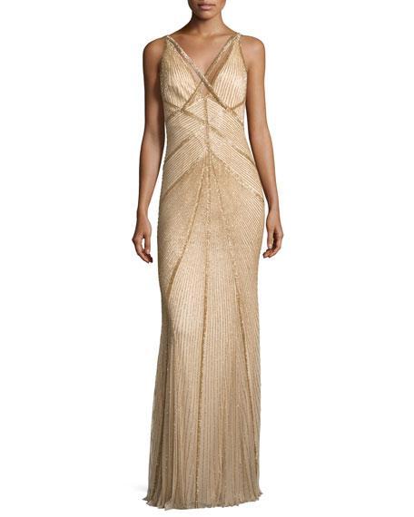 Rachel Gilbert Sleeveless Beaded V-neck Gown, Gold