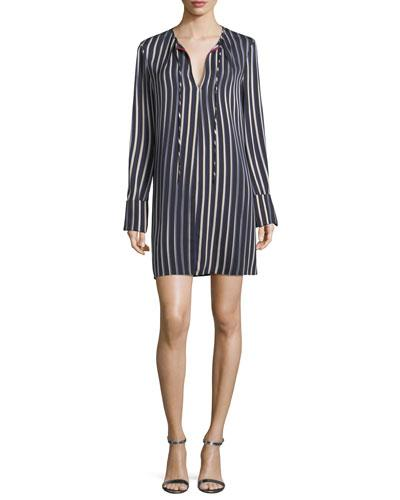 Diane Von Furstenberg Striped Long-sleeve Keyhole Dress In Black