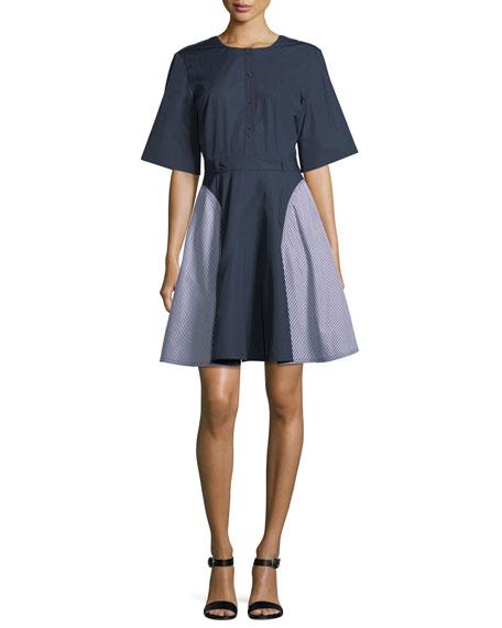 Grey By Jason Wu Short-sleeve Striped Cotton Dress In Midnight/white