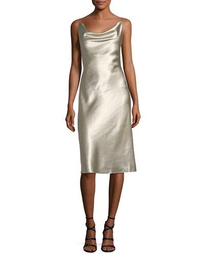 Black Halo Bessette Sleeveless Bias-cut Slip Cocktail Dress In Metallic Rush