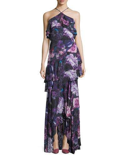 Parker Black Jodie Halter Evening Gown In Floral Print In Winter Cab