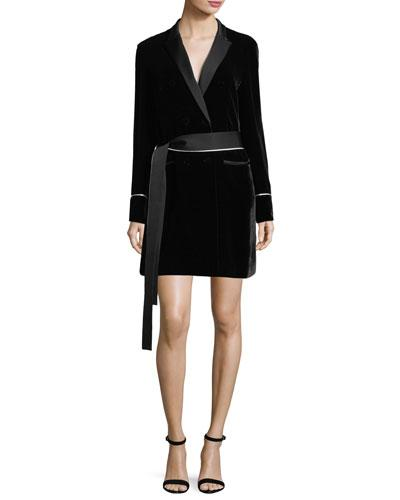 Grey By Jason Wu Tie-waist Velvet Tuxedo Shirtdress In Black