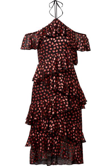 Alice And Olivia Annabeth Off-shoulder Hearts Burnout Velvet Dress In Black