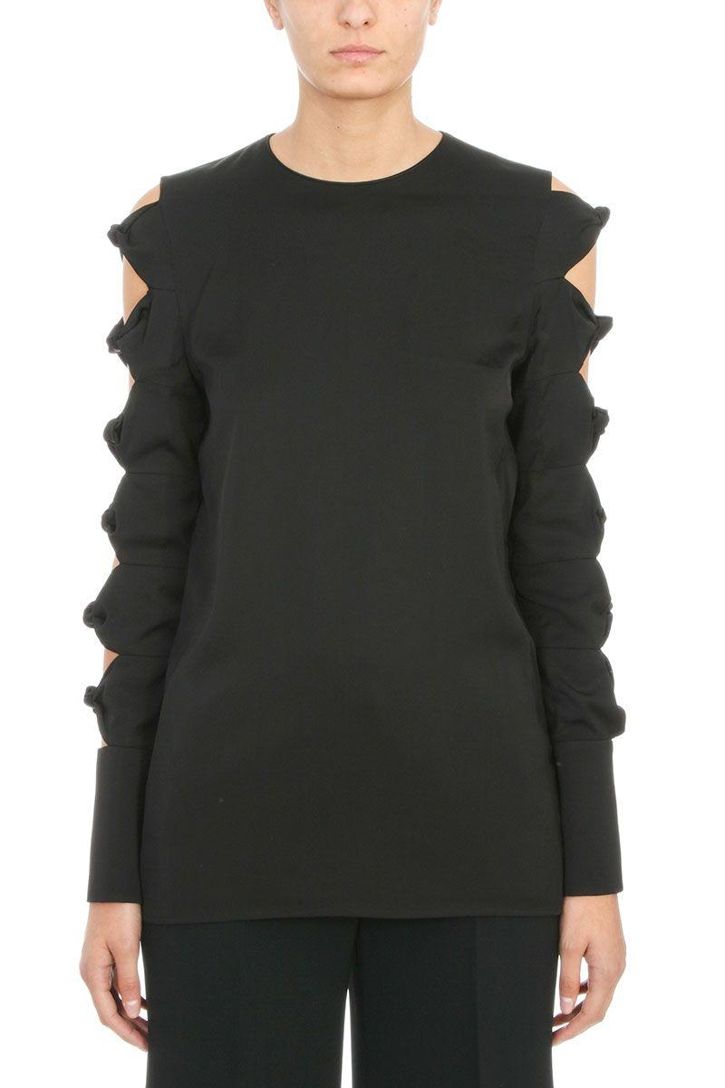 Victoria Beckham Black Viscose Knot Detail Sleeve Top In White