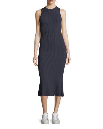 Grey By Jason Wu Sleeveless Ribbed-knit Dress In Midnight