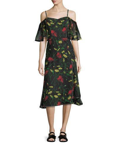 Grey By Jason Wu Off-shoulder Floral-print Chiffon Dress In Black Multi