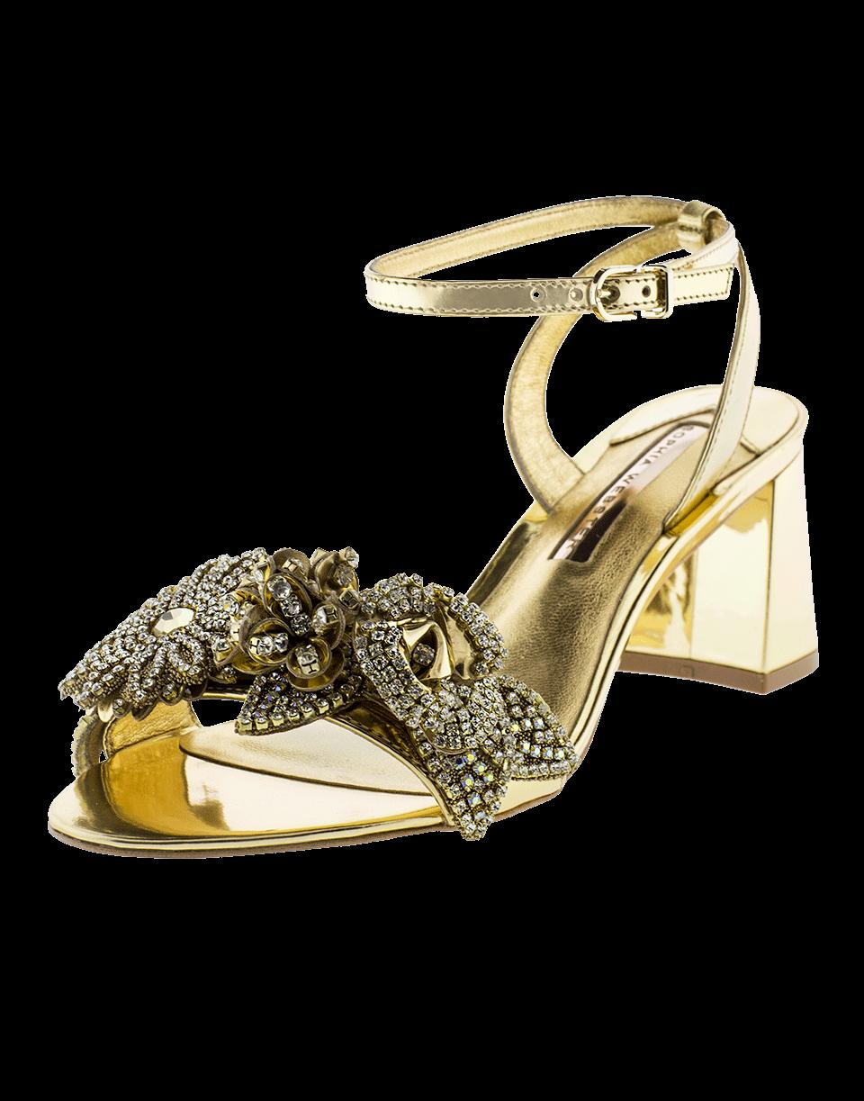 Sophia Webster Lilico Crystal Embellished Metallic Leather Block Sandals In Gold