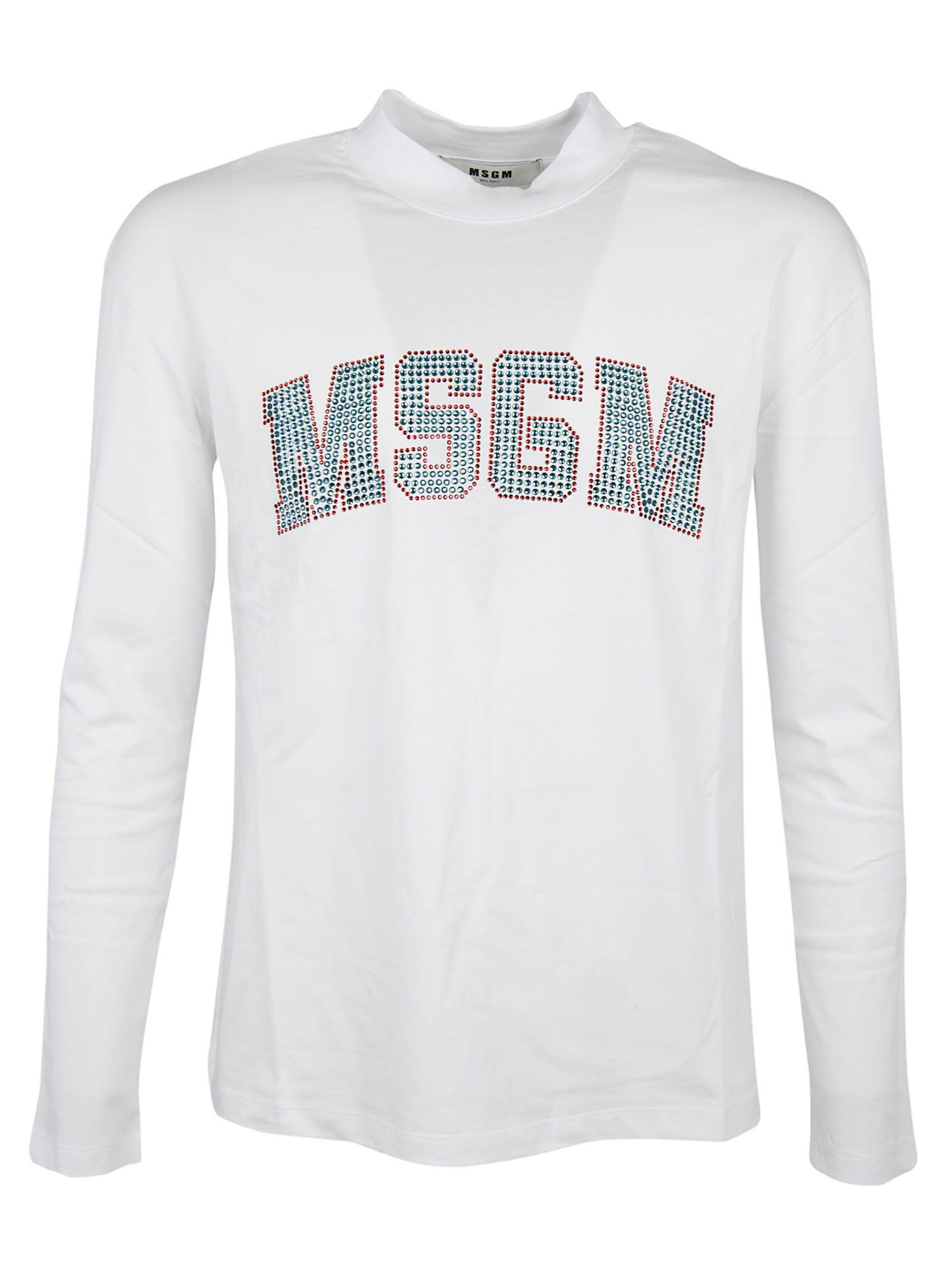Msgm Embellished Logo T-shirt In White