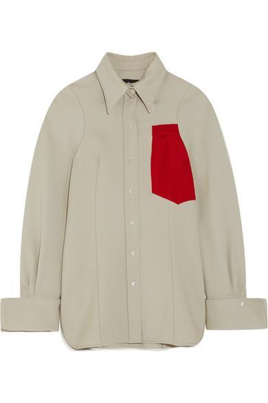 Joseph Moss AppliquÉd Wool Shirt In Mushroom