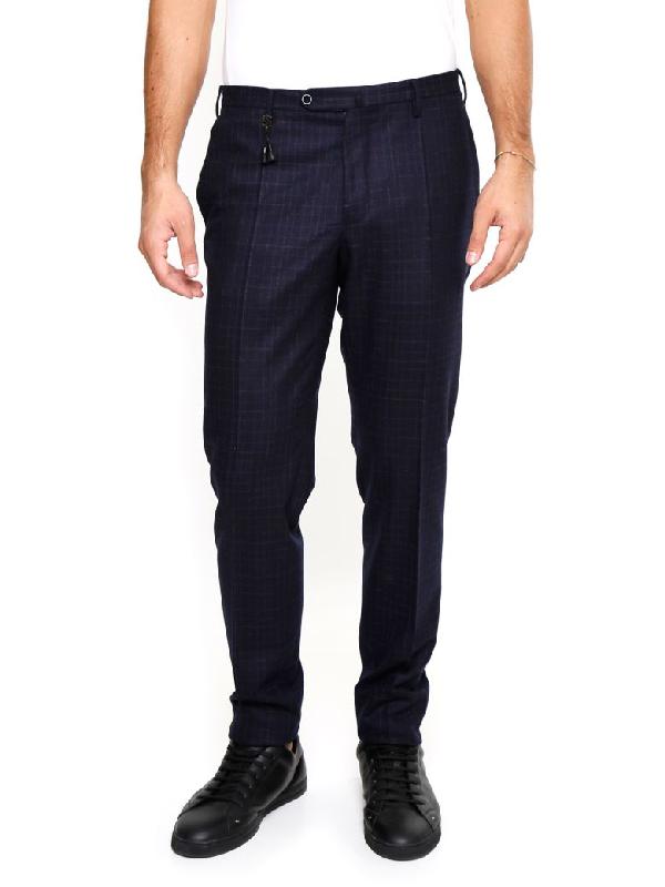Incotex Micro Pattern Trousers In Blu|blu