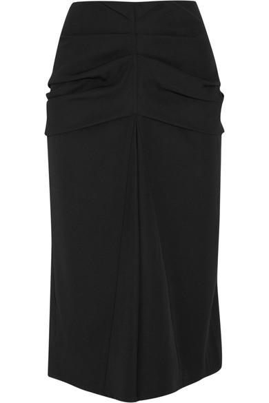 Lemaire Gathered Wool And Cotton-blend Twill Midi Skirt In Black