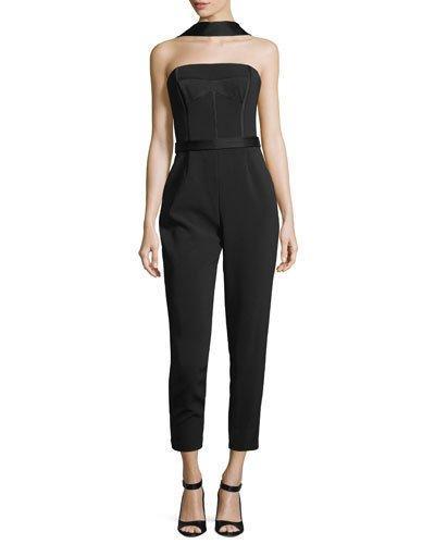 Grey By Jason Wu Heavy Crepe Bustier Straight-leg Jumpsuit In Black