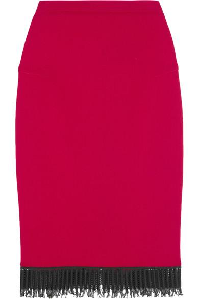 Roland Mouret Sitona Fringed Wool-crepe Skirt In Red