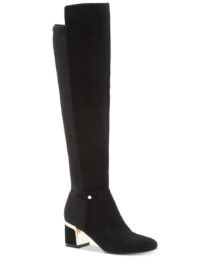 Dkny Cora Wide Calf Boots, Created For Macy's In Black Suede