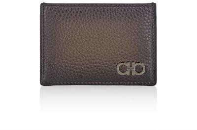 Salvatore Ferragamo Firenze Glow Pebbled Leather Card Case In Sepia