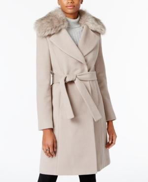 T Tahari Plus Size Faux-fur-collar Belted Wrap Coat In Brown Sugar