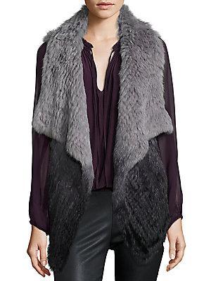 Parker Cassandra Ombre Rabbit Fur Vest In Charcoal Ombre