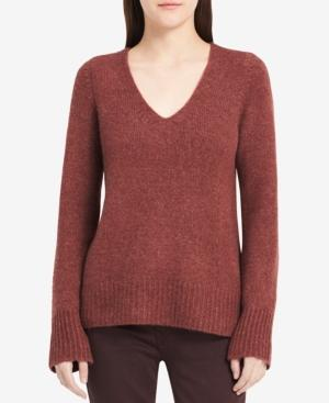Calvin Klein Jeans Est.1978 V-neck Long-sleeve Sweater In Pale Plum Heather