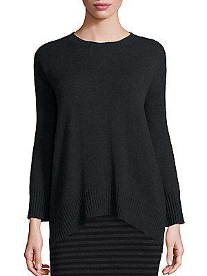 Eileen Fisher Merino Wool & Cashmere Hi-lo Sweater In Charcoal