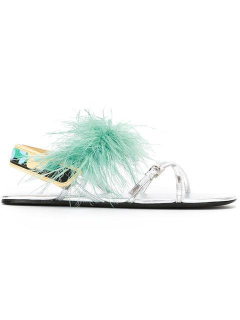 Prada Feather Metallic Sandals