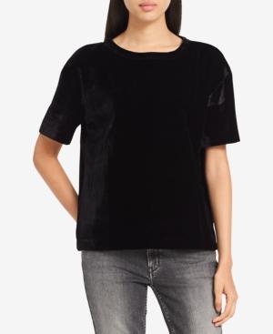 Calvin Klein Jeans Est.1978 Velvet T-shirt In Black