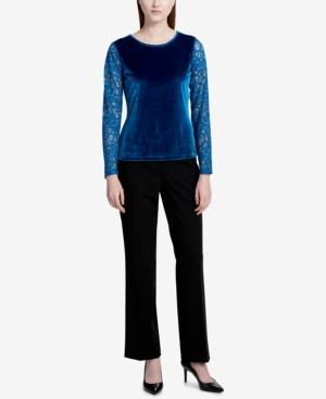 Calvin Klein Lace-sleeve Velvet Top In Cypress