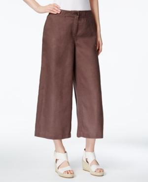 Eileen Fisher Cropped Linen Pants In Cobblestone