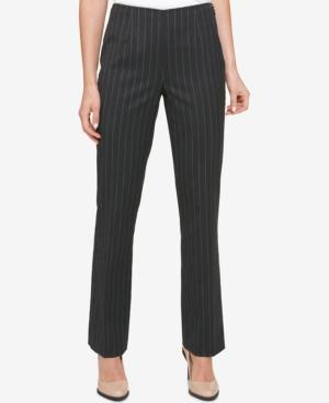 Dkny Side-zip Pinstripe Pants In Dark Gray
