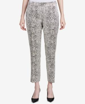 Calvin Klein Petite Metallic Snake-embossed Pants In White/black Multi