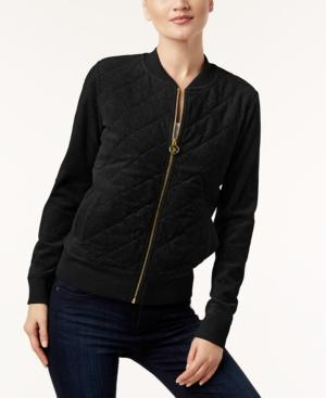 Calvin Klein Velour Quilted Bomber Jacket, A Macy's Exclusive Style In Black