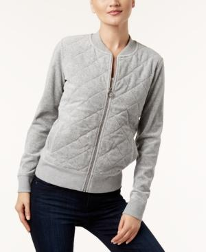 Calvin Klein Velour Quilted Bomber Jacket, A Macy's Exclusive Style In Gray