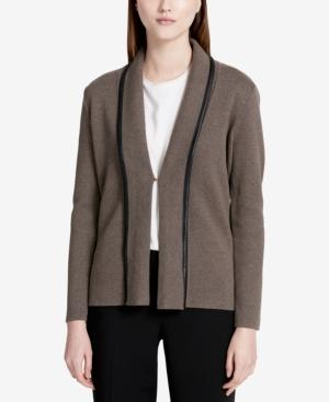 Calvin Klein Faux-leather-trim Knit Blazer In Heather Gray