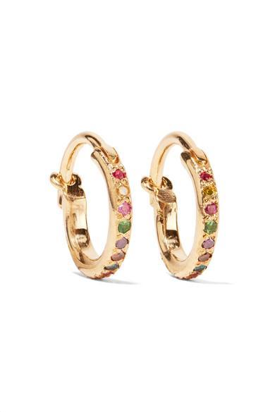 Ileana Makri Mini Rainbow 18-karat Gold Multi-stone Earrings