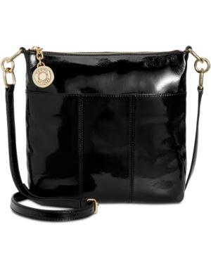 Tommy Hilfiger Th Signature Crinkle Patent Small Crossbody In Black
