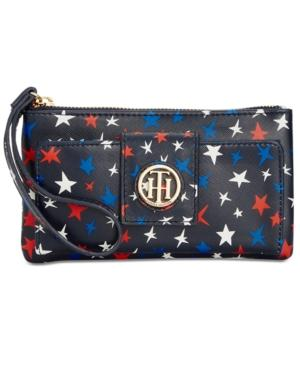 Tommy Hilfiger Th Serif Signature Front-snap Wristlet In Navy/multi