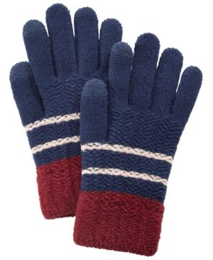 Steve Madden Chevron Block Itouch Gloves In Navy