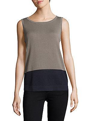 Akris Cotton Woven Colorblock Top In Grey