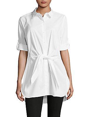 Calvin Klein Self-tie Roll-tab Tunic In Soft White