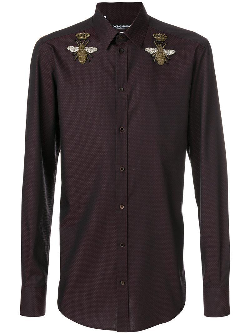 Dolce & Gabbana Crowned Bee AppliquÉ Shirt